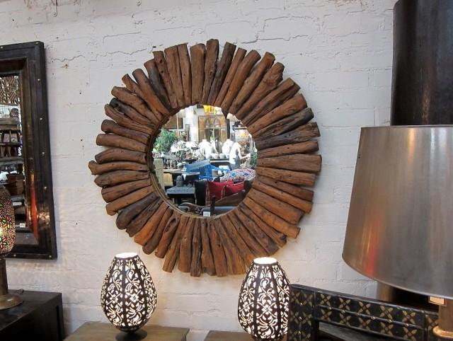 Round Reclaimed Wood Mirror