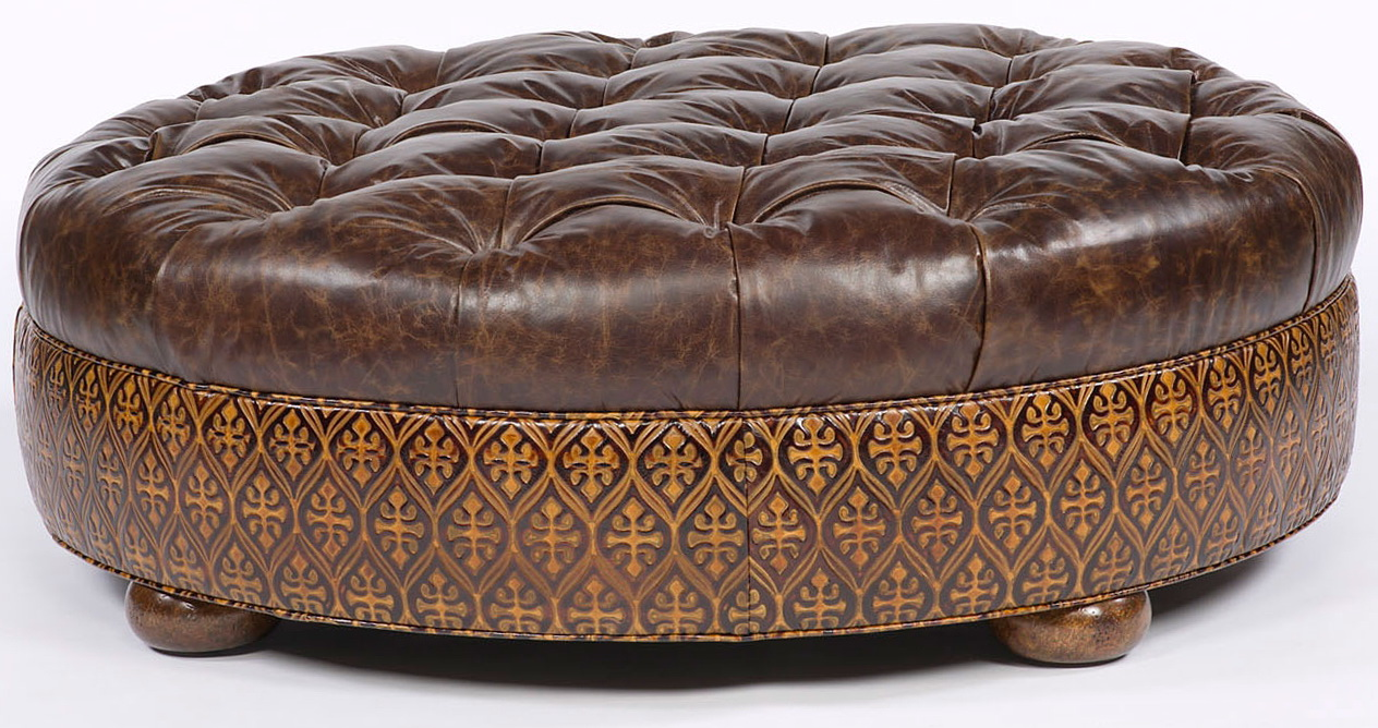 Round Tufted Ottoman Leather