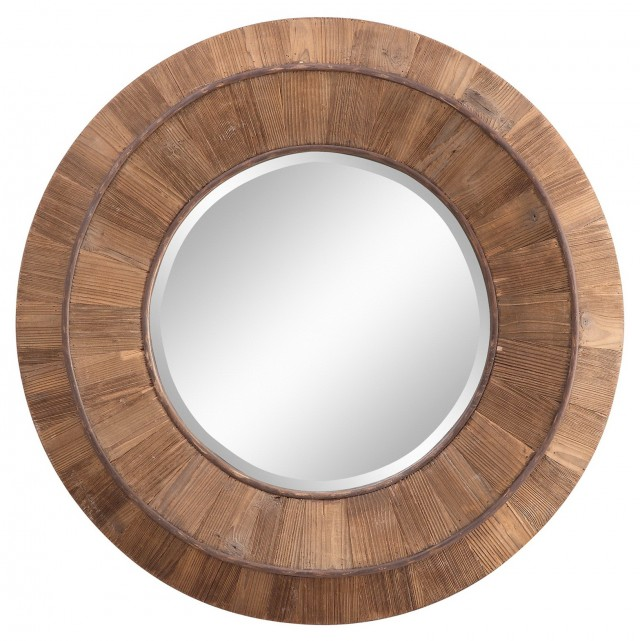 Round Wall Mirror Wood