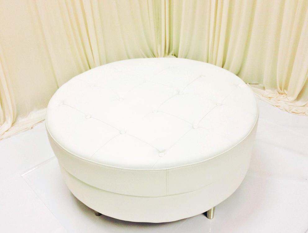 Round White Leather Ottoman