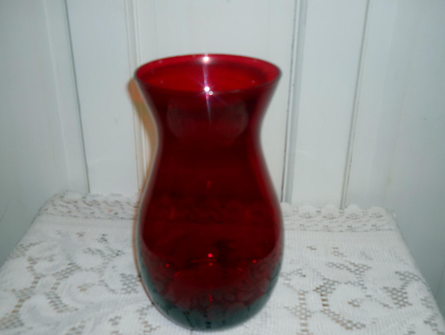 Ruby Red Glass Vase