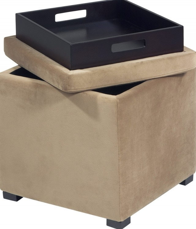 Small Storage Ottoman With Tray