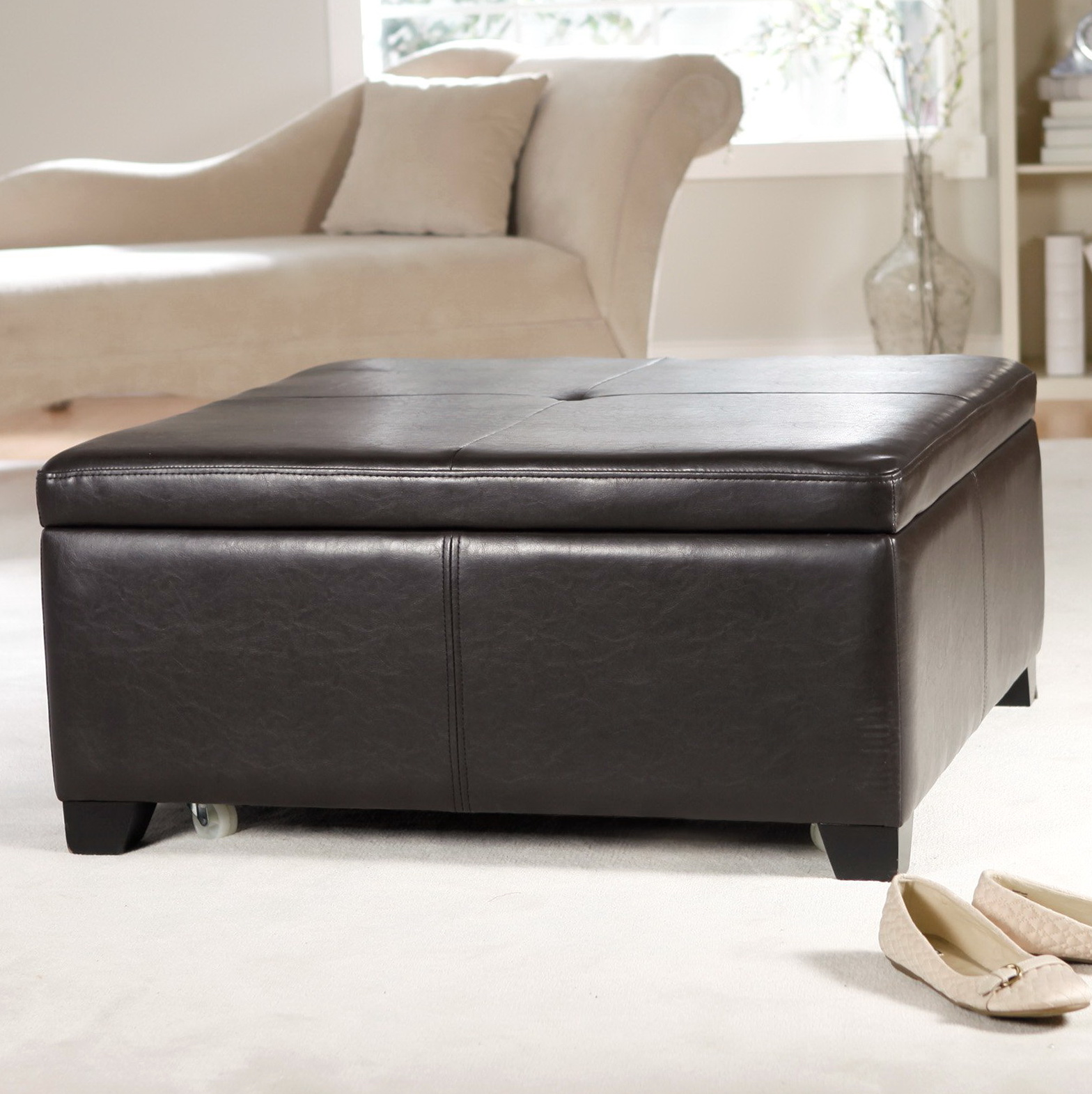 Square leather ottoman coffee table home design ideas Square leather coffee table