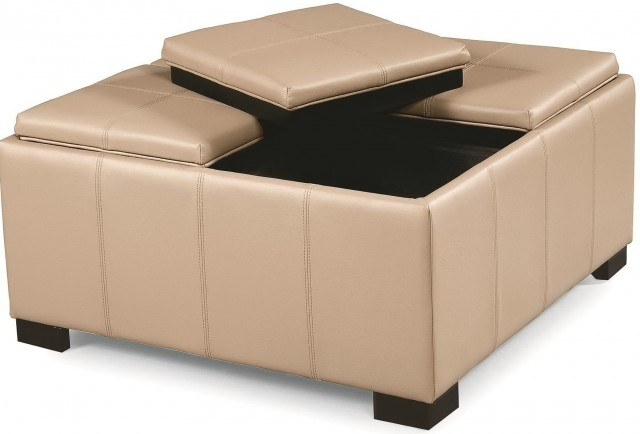 Square Leather Ottoman With Storage