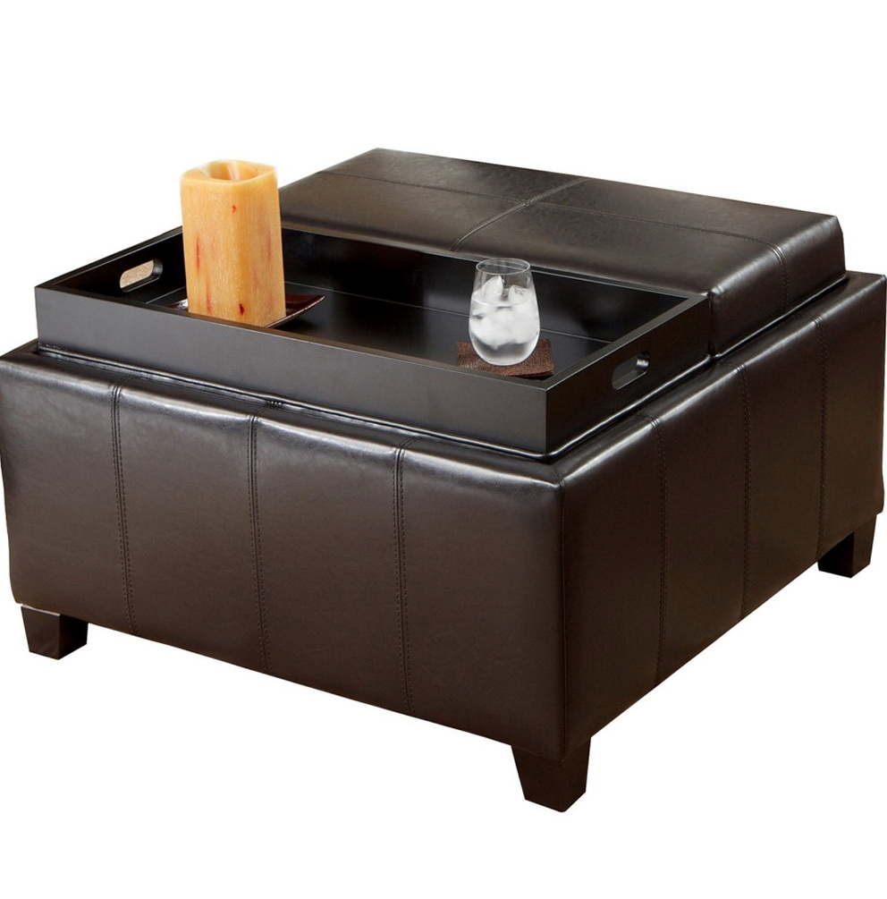 Square Leather Ottoman With Trays