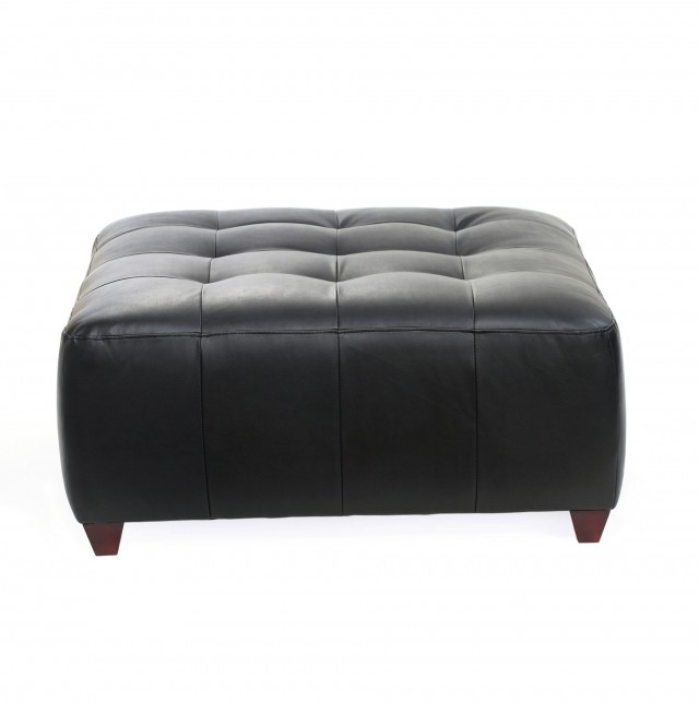 Square Tufted Leather Ottoman
