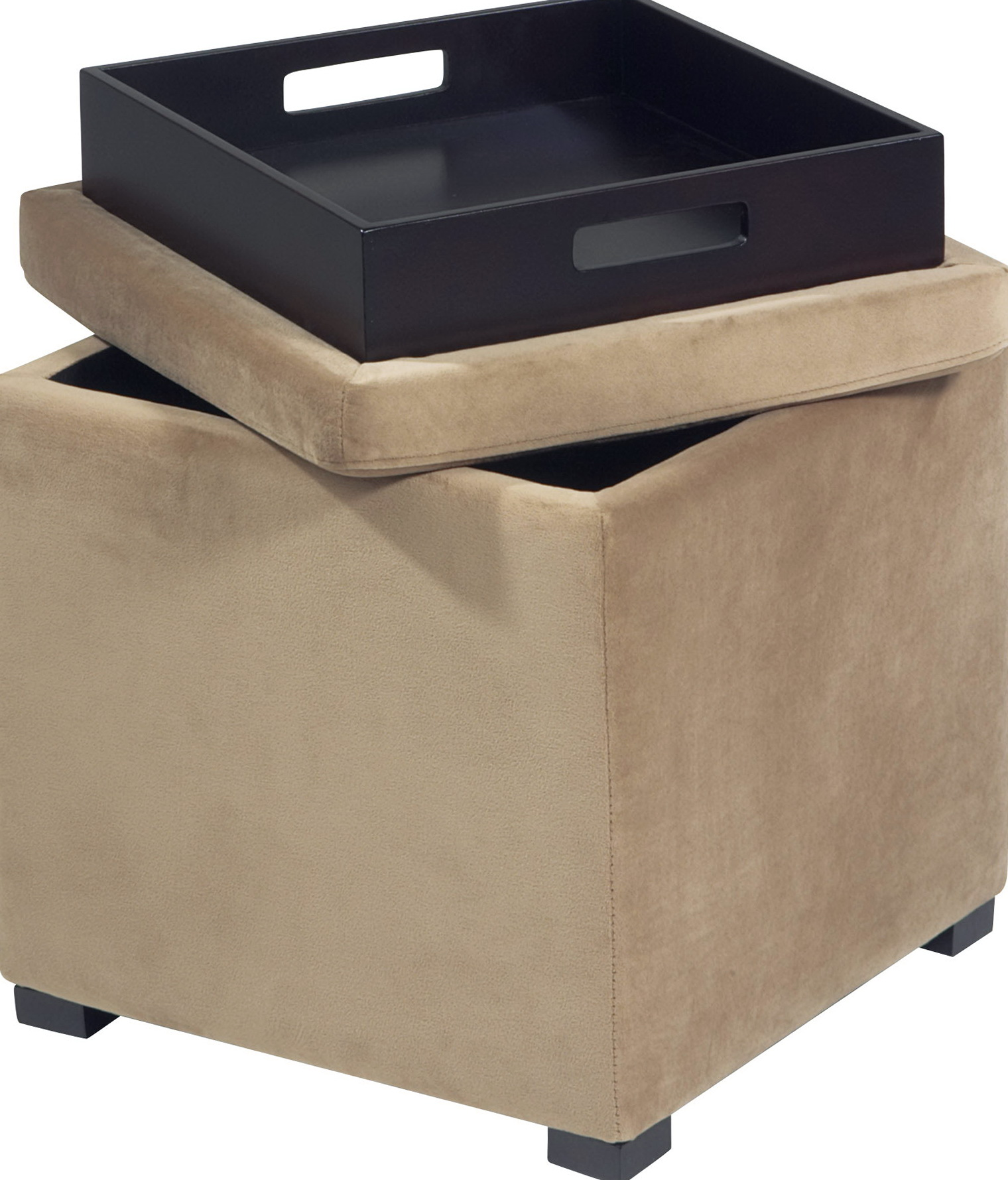 Storage Cube Ottoman With Tray