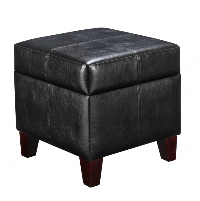 Storage Ottoman With Tray Black
