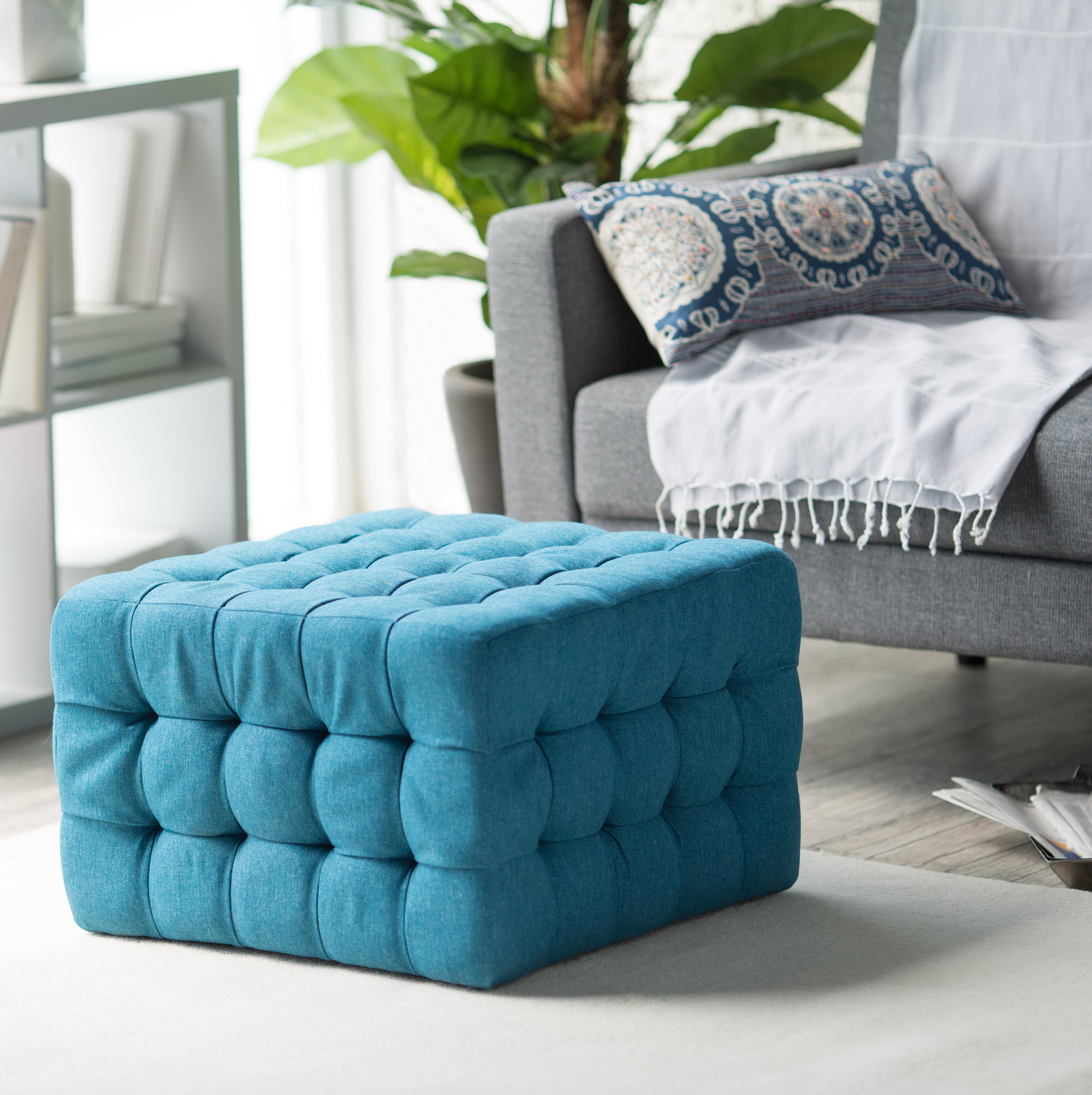 Teal Square Storage Ottoman Home Design Ideas