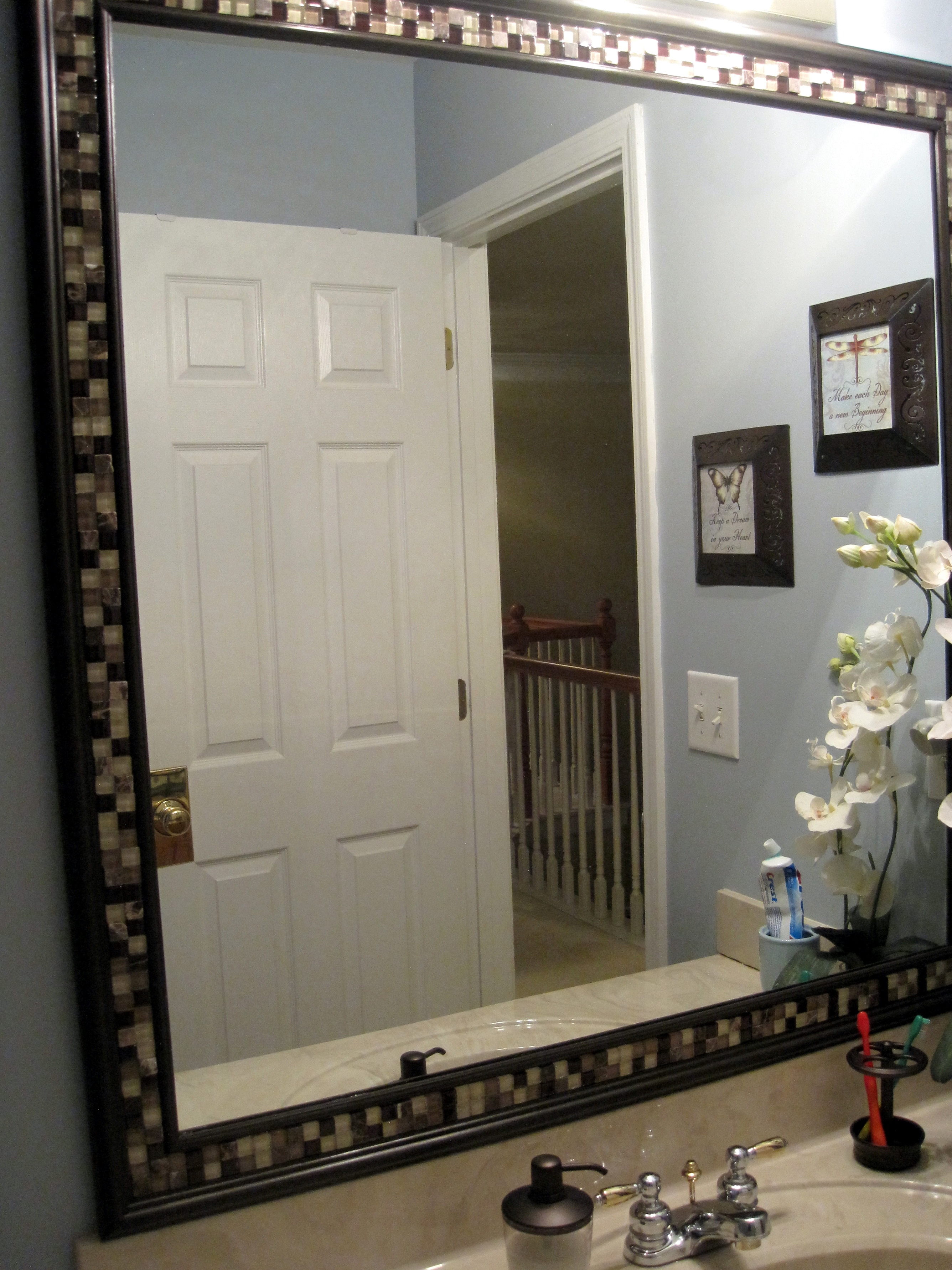Tiled Framed Bathroom Mirrors