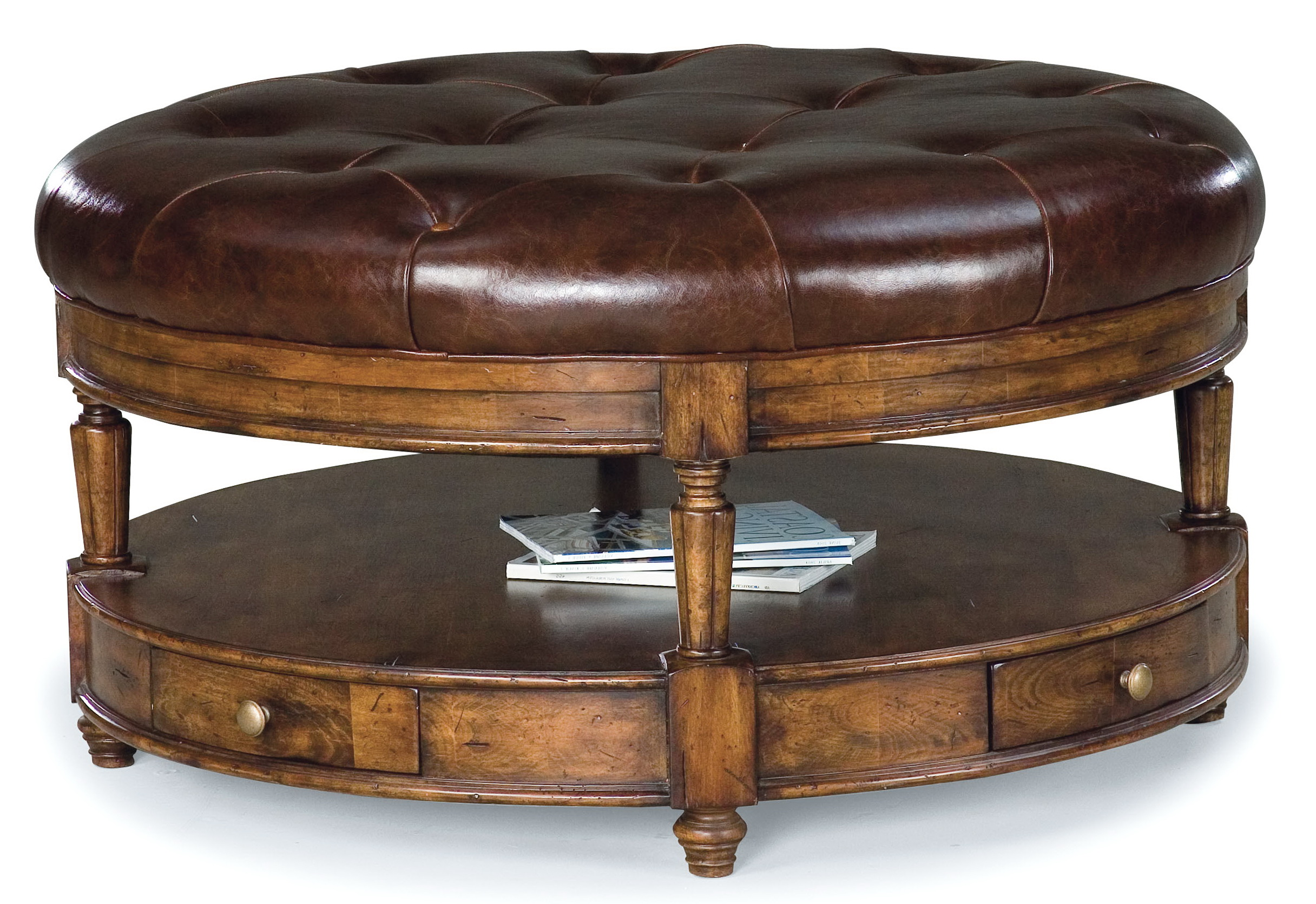Tufted Leather Ottoman With Optional Shelf Home Design Ideas