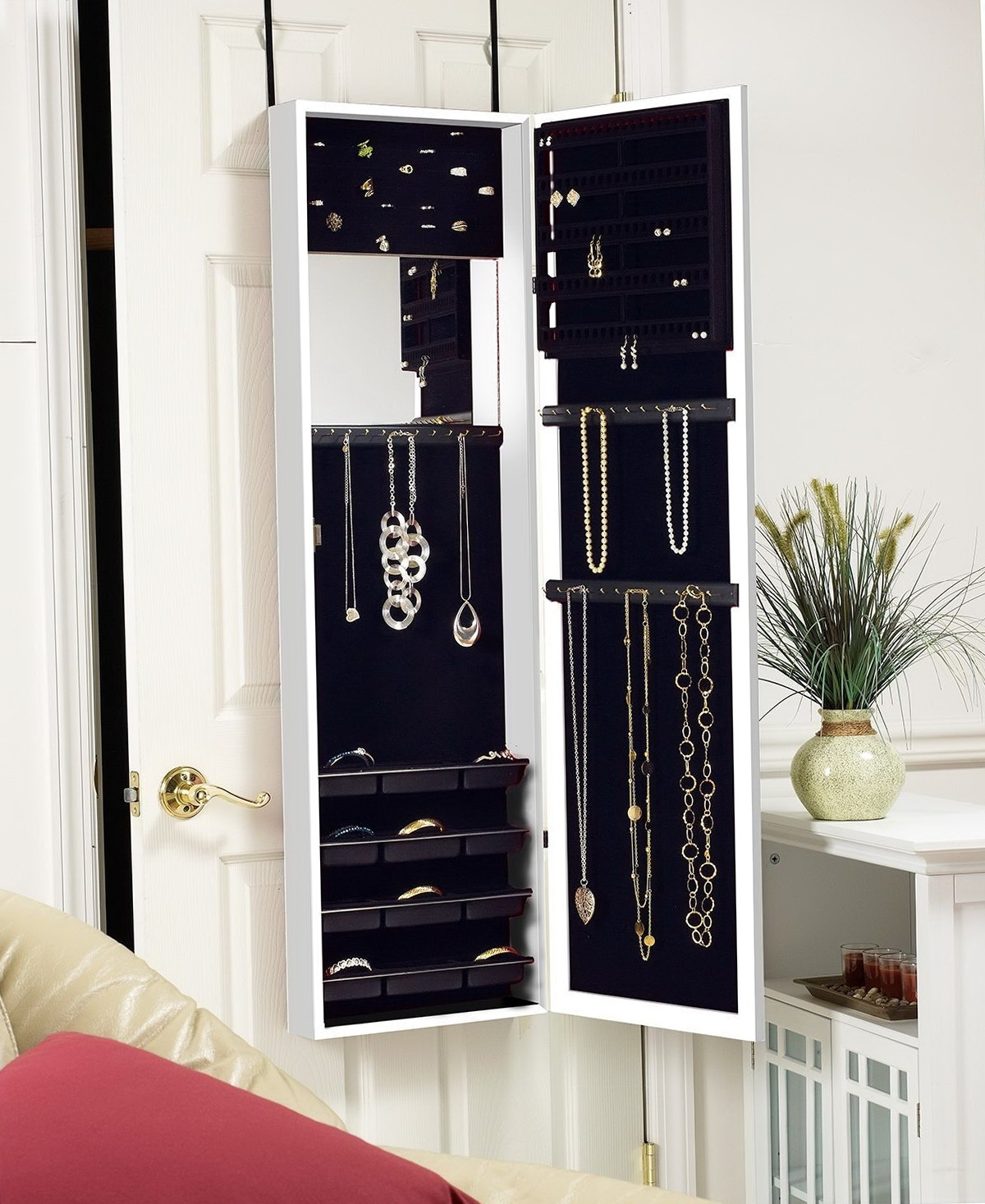 Wall mirror with jewelry storage home design ideas for Mirror jewelry storage