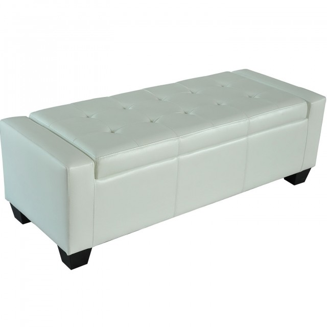 White Faux Leather Storage Bench