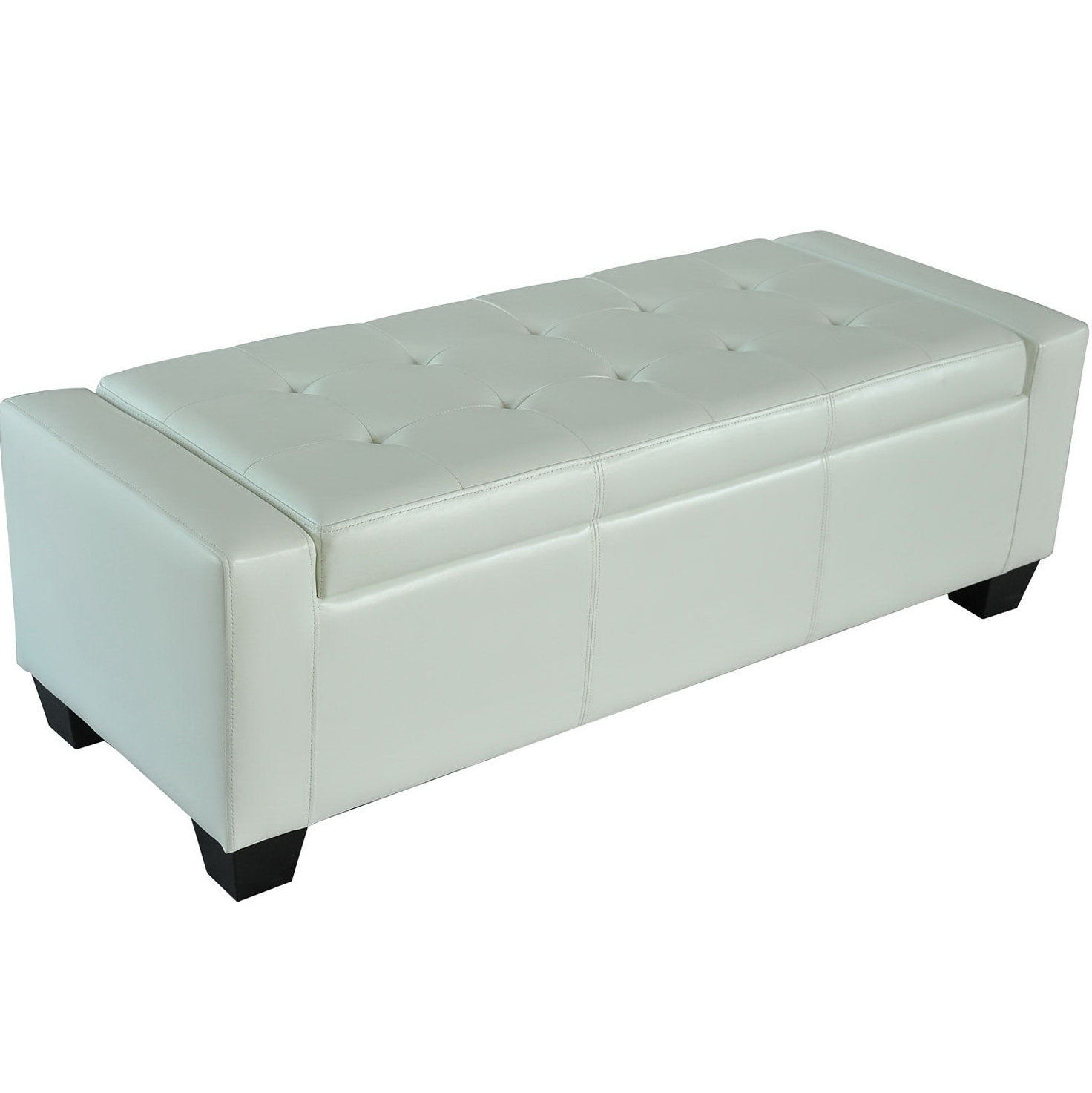 White Faux Leather Storage Bench Home Design Ideas