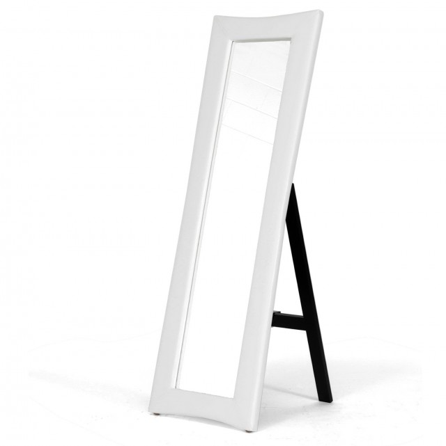 White Leaning Floor Mirror