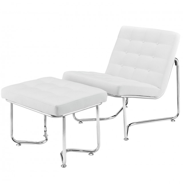 White Leather Chair With Ottoman