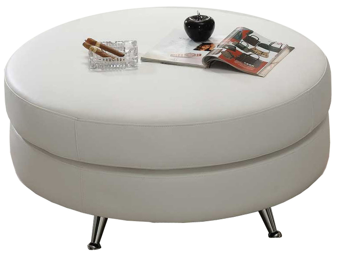 White Leather Cocktail Ottoman