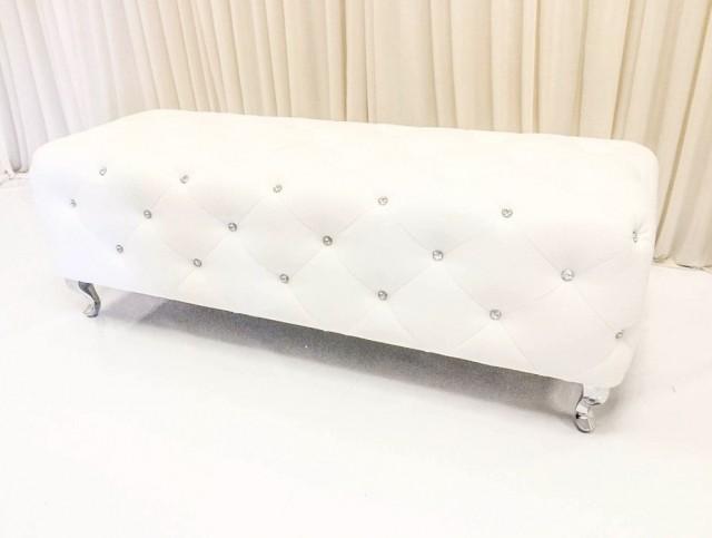 White Leather Ottoman Bench