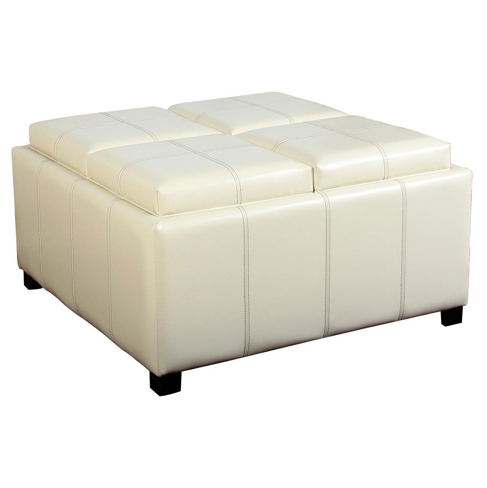 White Leather Ottoman Coffee Table