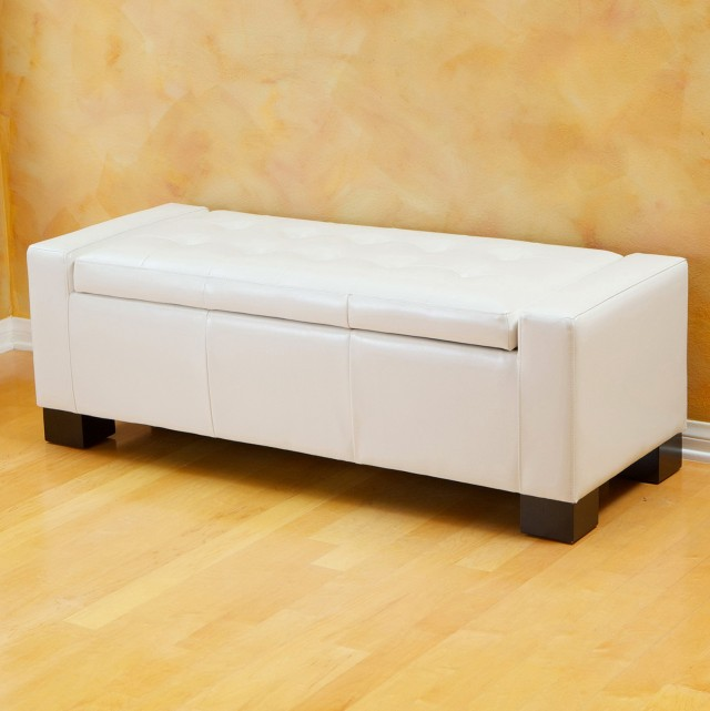 White Leather Storage Bench