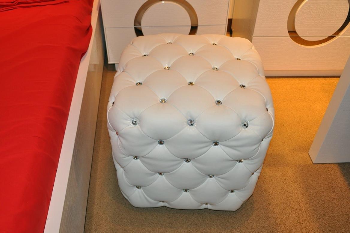 White Leather Tufted Ottoman