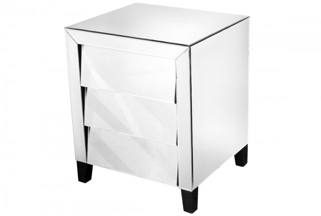 White Mirrored Bedside Table