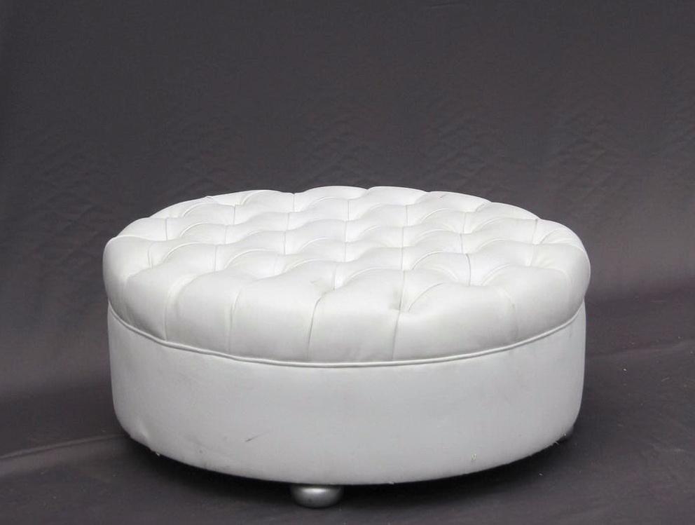 White Round Leather Ottoman Home Design Ideas