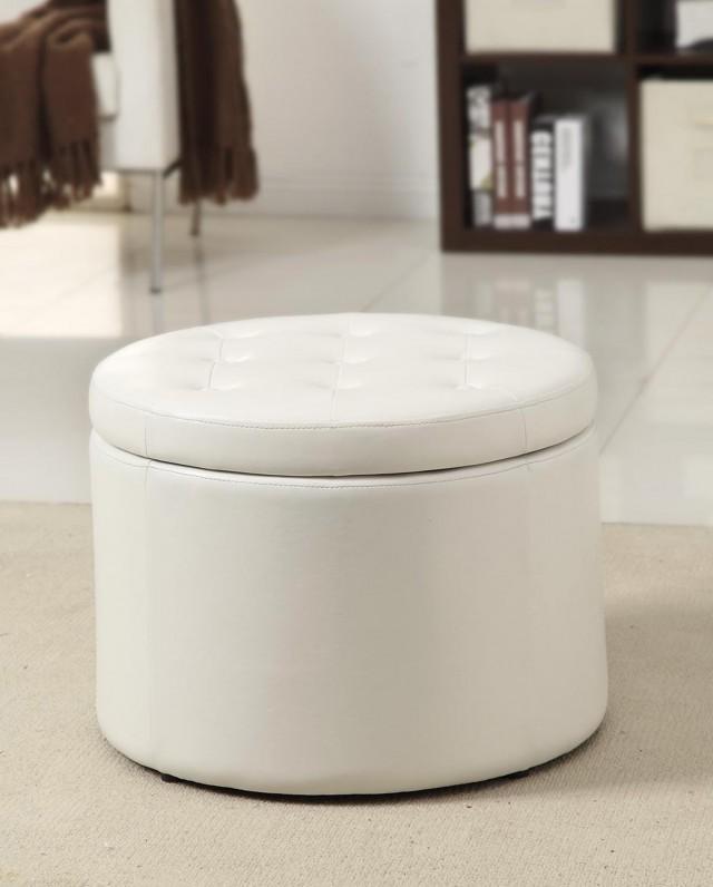 White Round Storage Ottoman