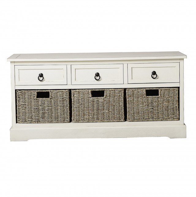 Cream Storage Bench With Baskets Home Design Ideas