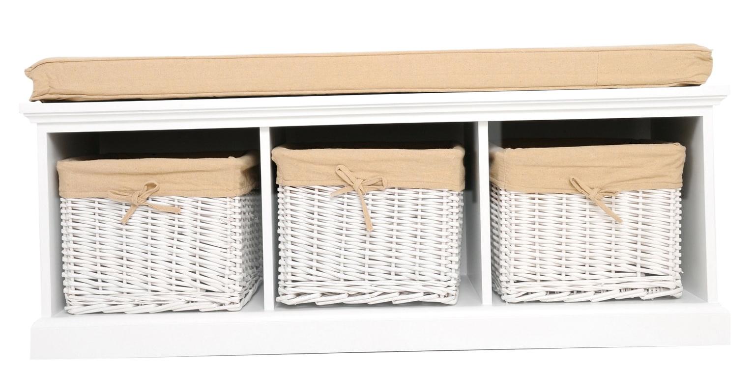 White Storage Bench With Cushion