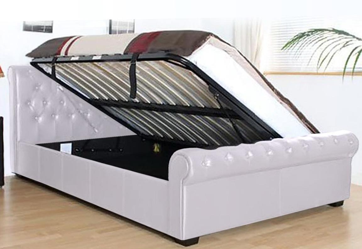 White Storage Ottoman Bed