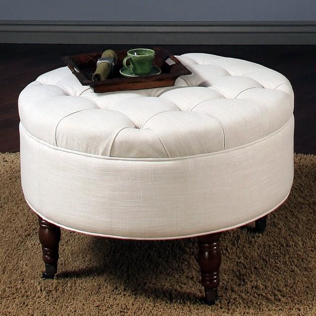 White Tufted Round Ottoman