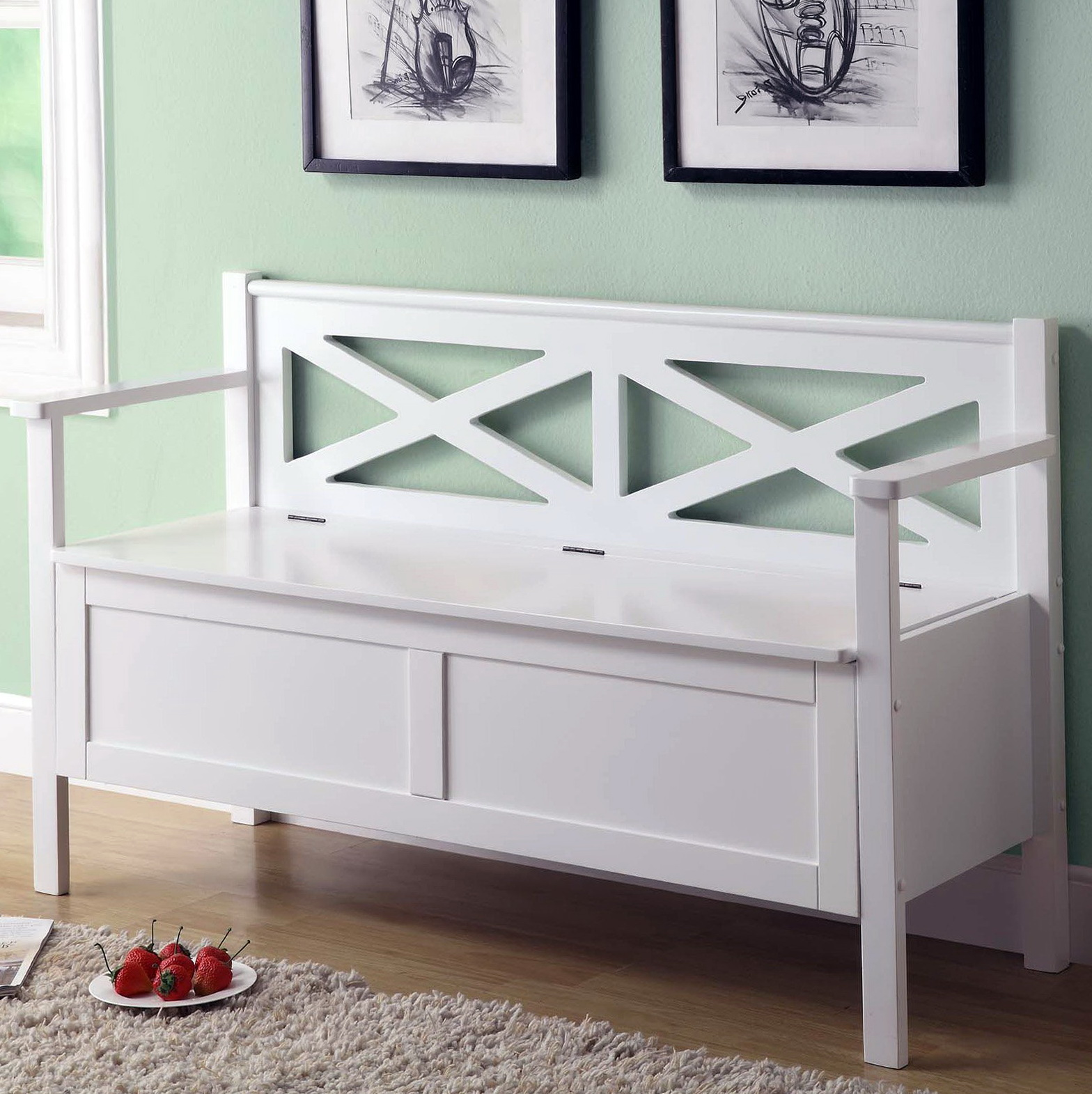 White Wood Storage Bench Home Design Ideas