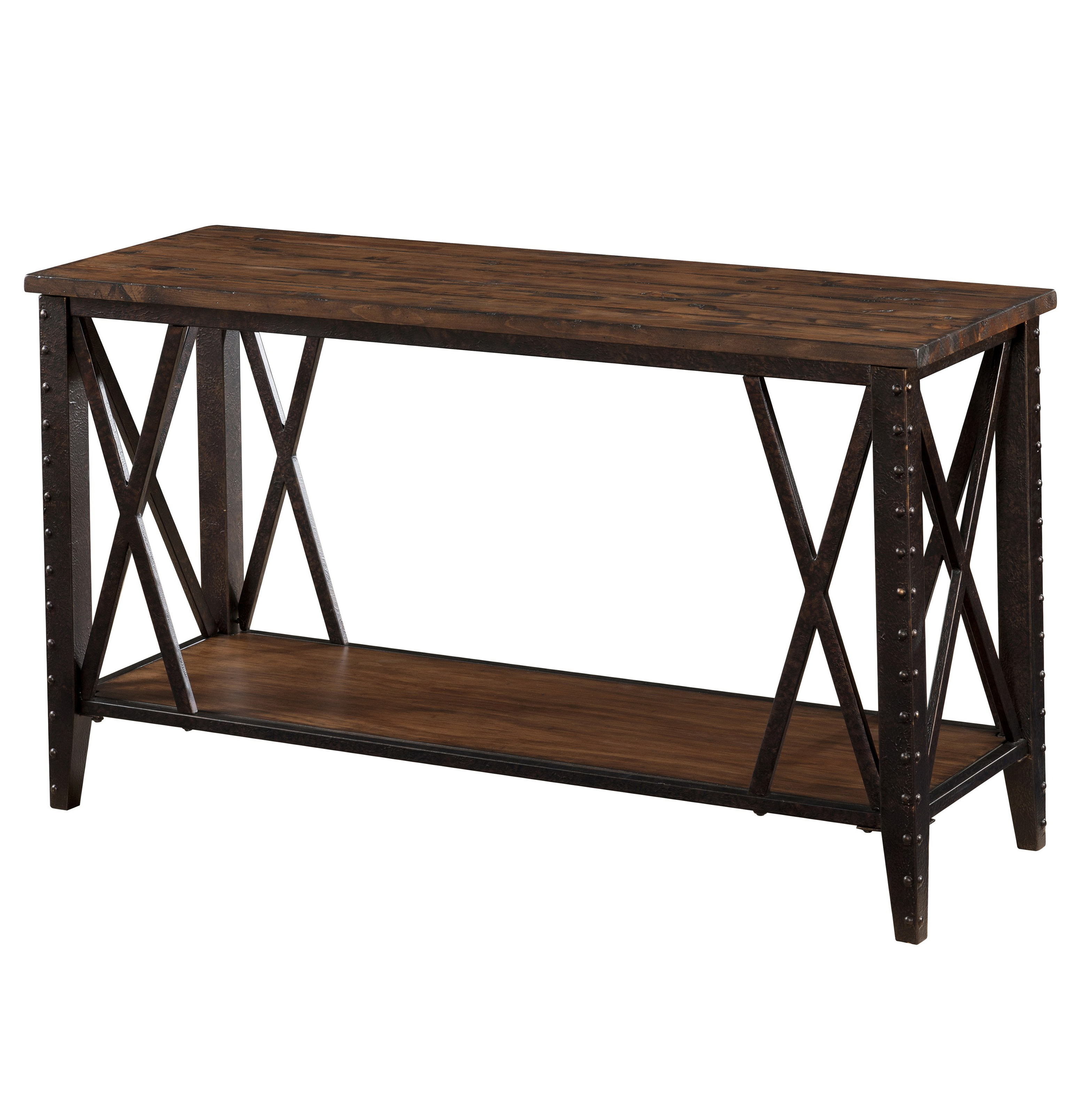 Wood console table with metal legs home design ideas for Wood and metal console table
