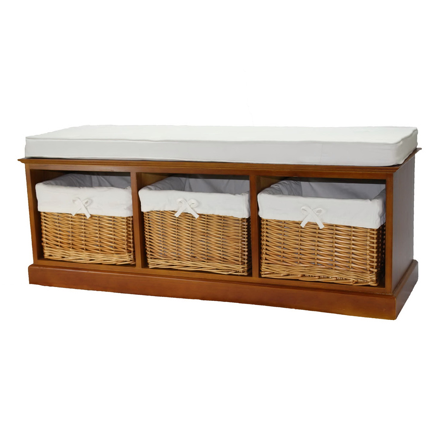 Wood storage bench with baskets home design ideas Bench with baskets