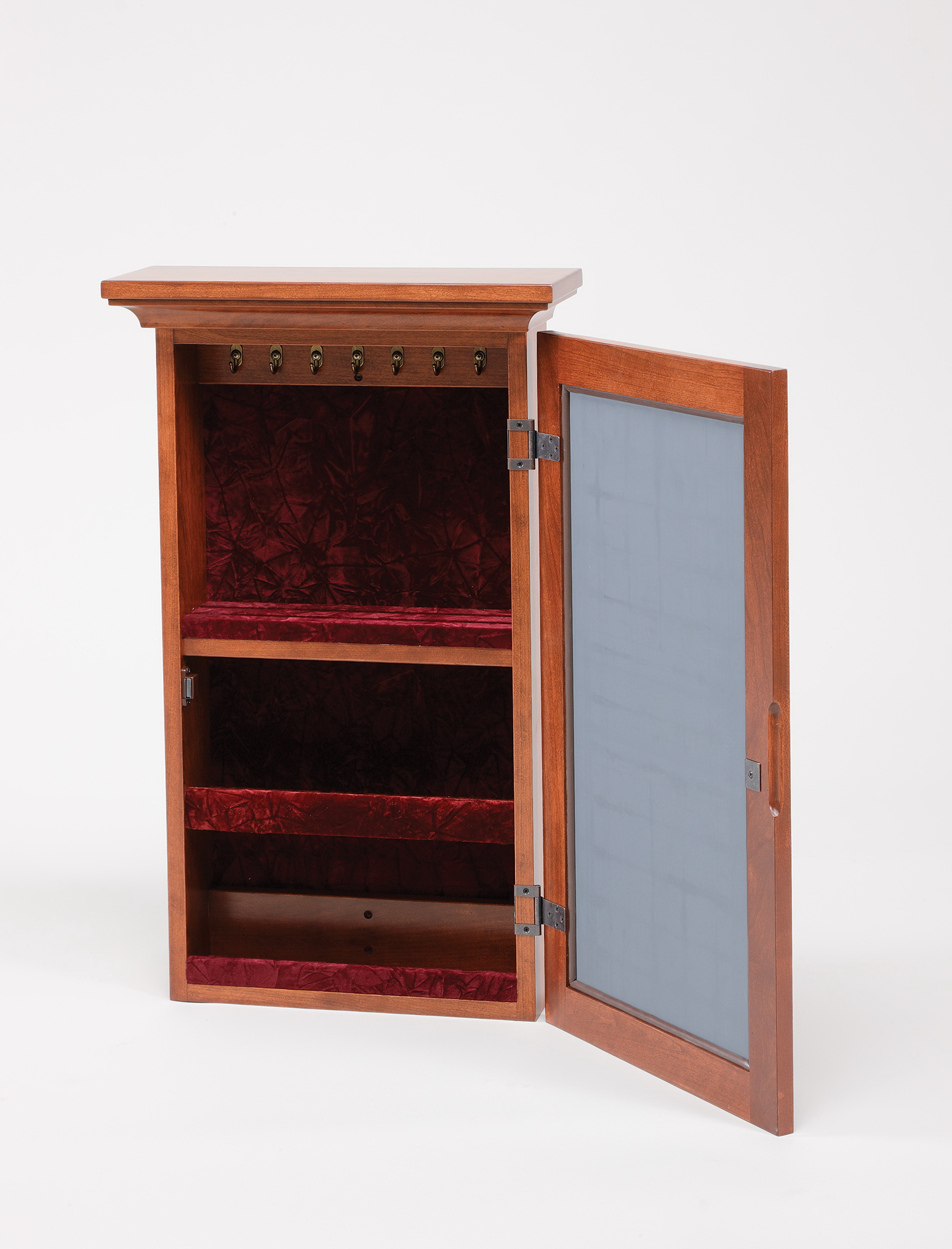 Wooden Mirrored Jewelry Cabinet