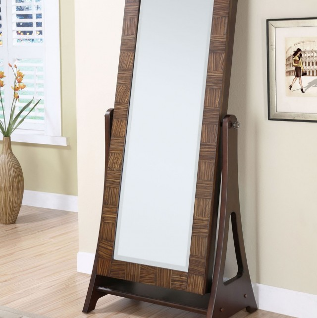 Worthington Antique Walnut Standing Mirror Jewelry Armoire