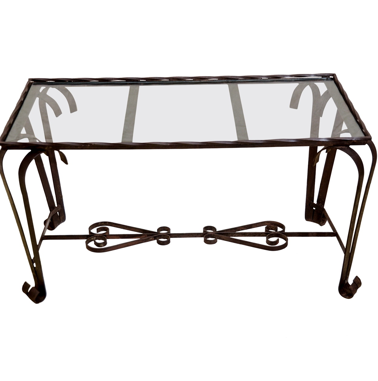 Wrought Iron Console Table With Glass Top