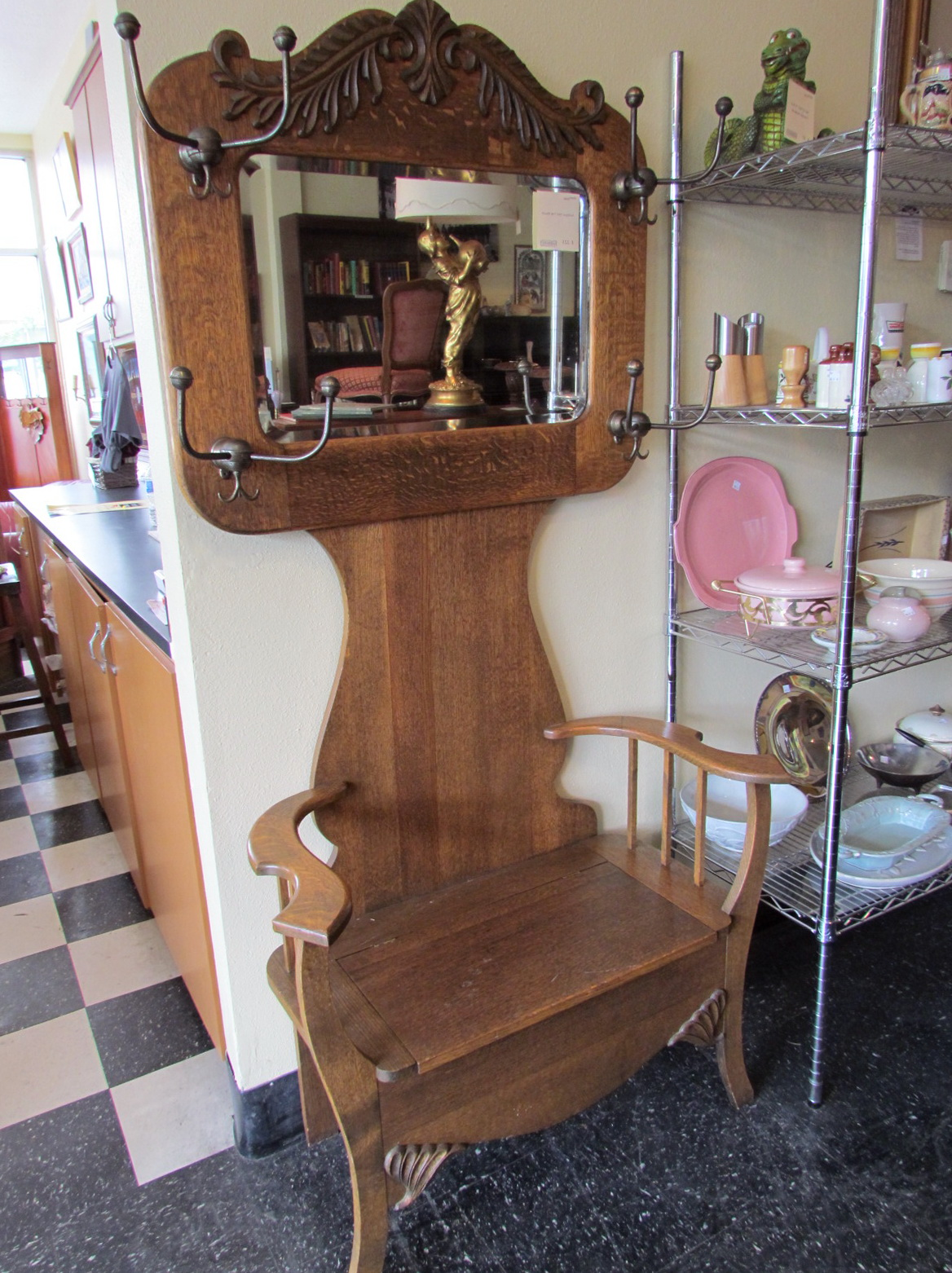 Antique Oak Hall Tree With Bench And Mirror'