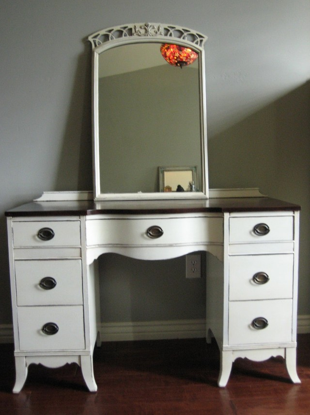 Antique Wood Vanity With Mirror Home Design Ideas