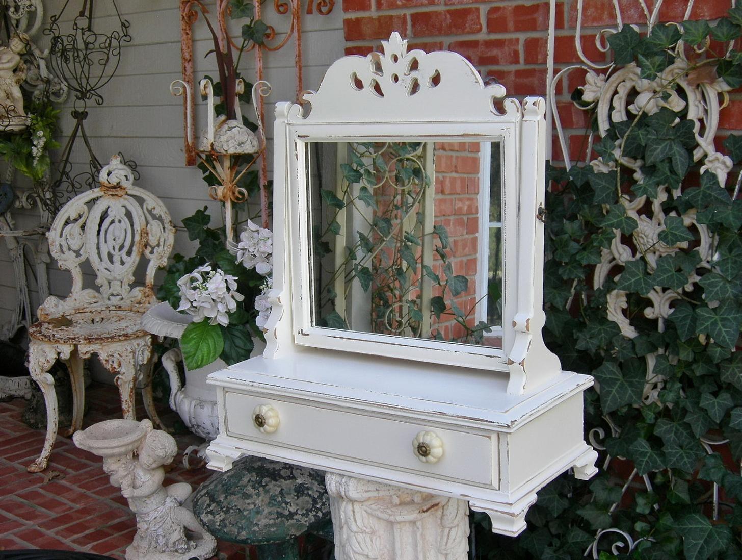 Antique Wood Vanity With Mirror