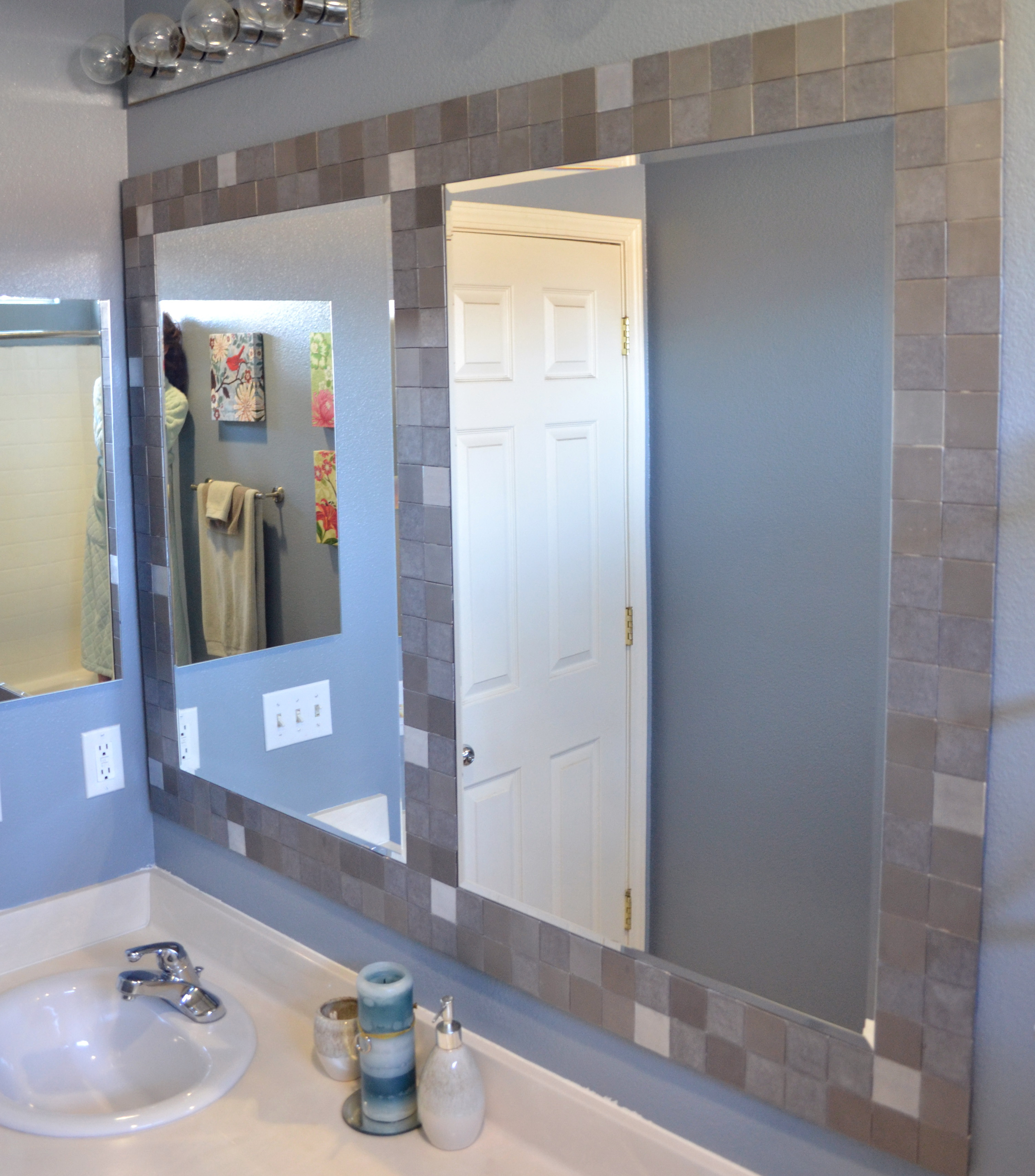 bathroom mirror frame tile home design ideas