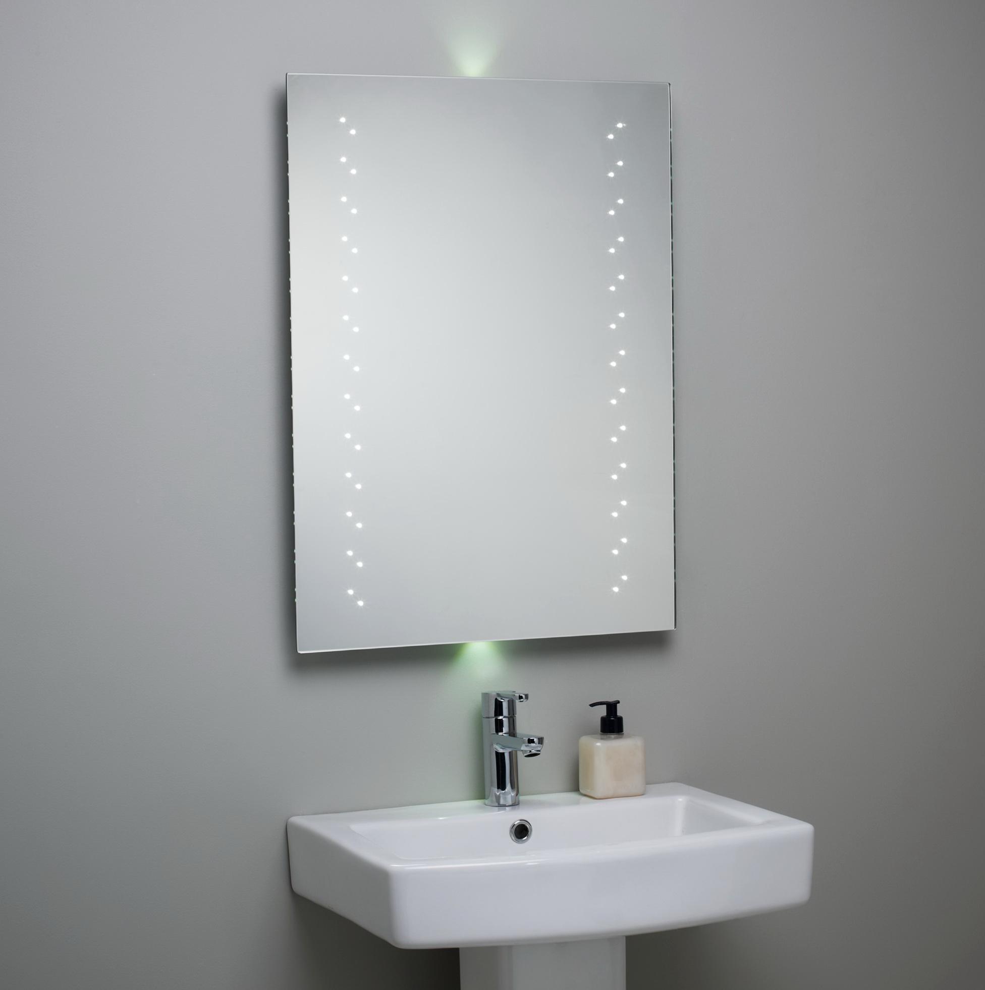 Bathroom mirror with lights behind home design ideas for Bathroom mirrors with lights behind