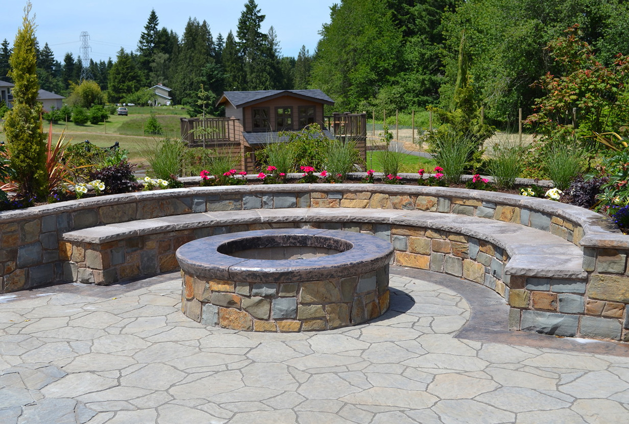 Benches Around Fire Pit Home Design Ideas