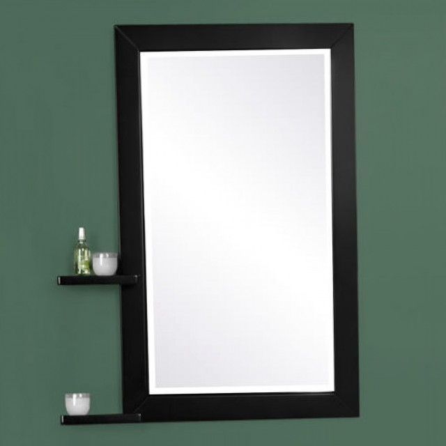 Black Bathroom Mirror With Shelf