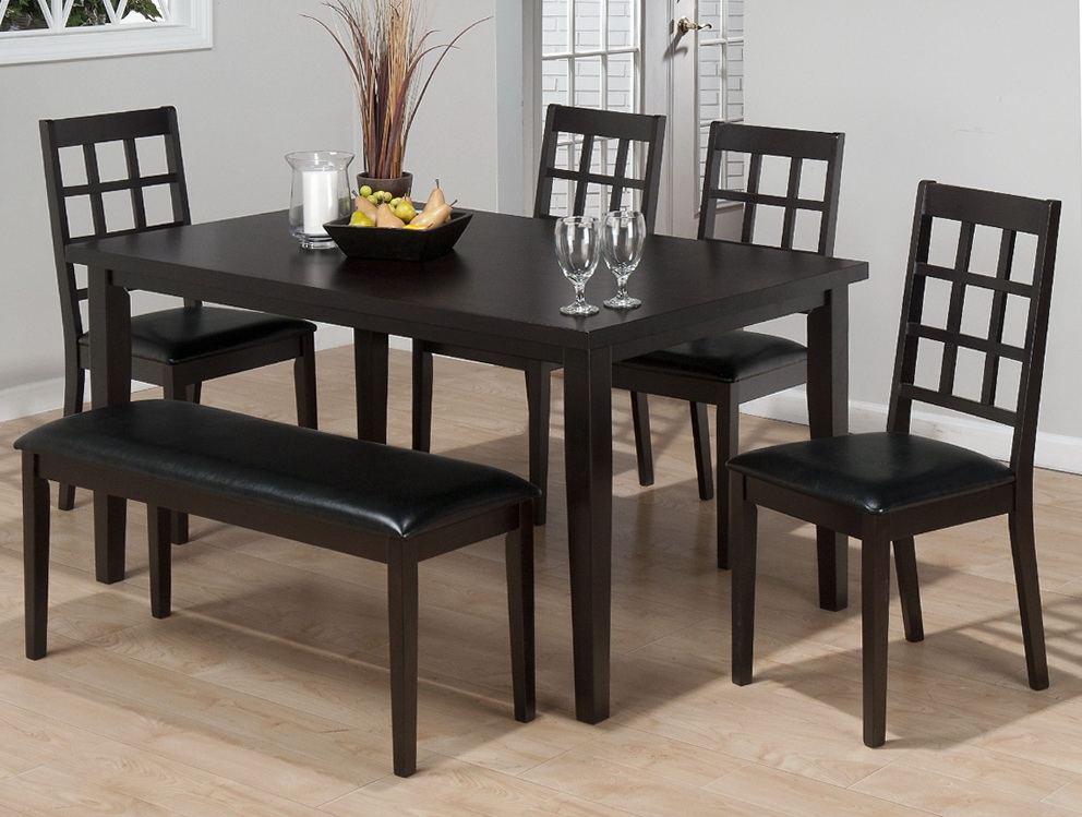 Black dining room table with bench home design ideas for Black dining table ideas