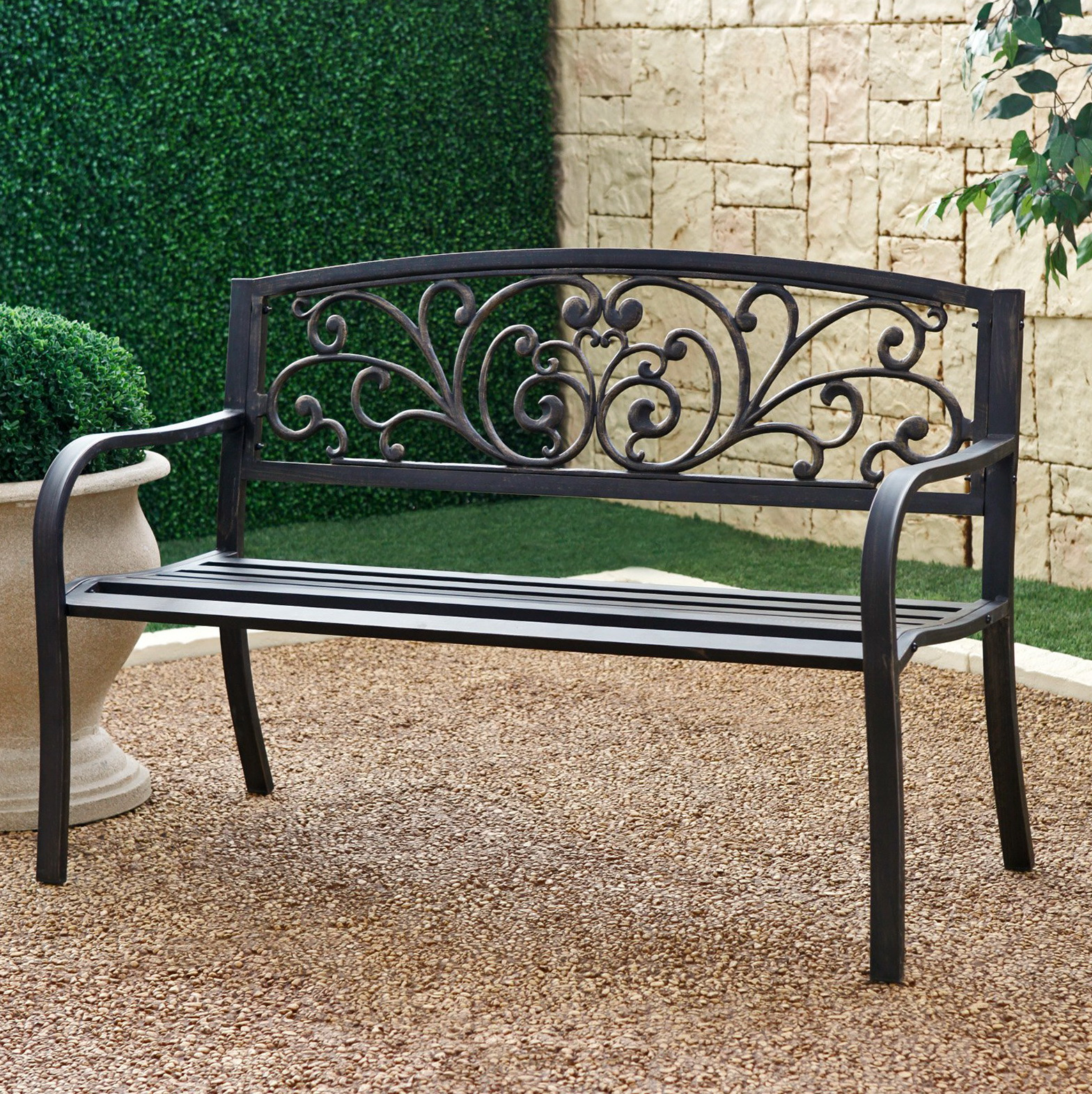 Black metal garden bench home design ideas Garden benches metal
