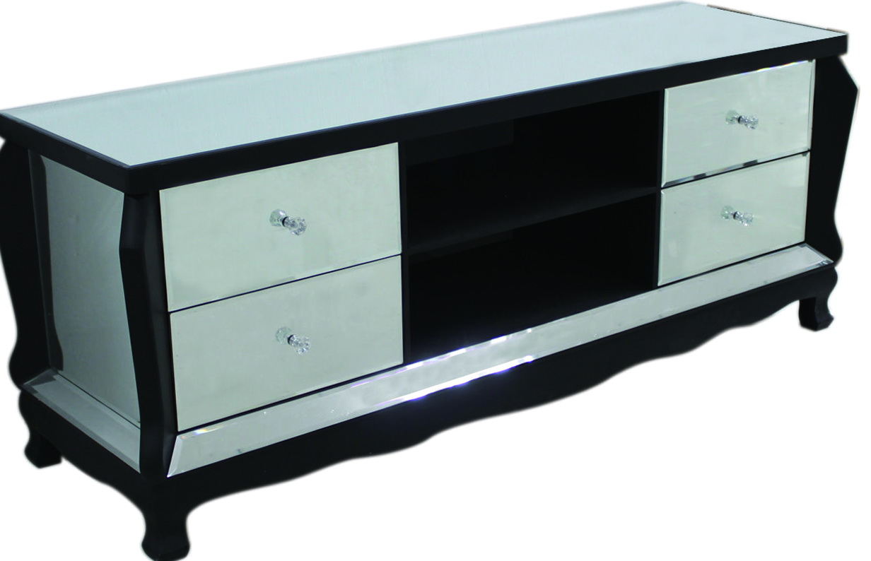 Black Mirrored Tv Stand