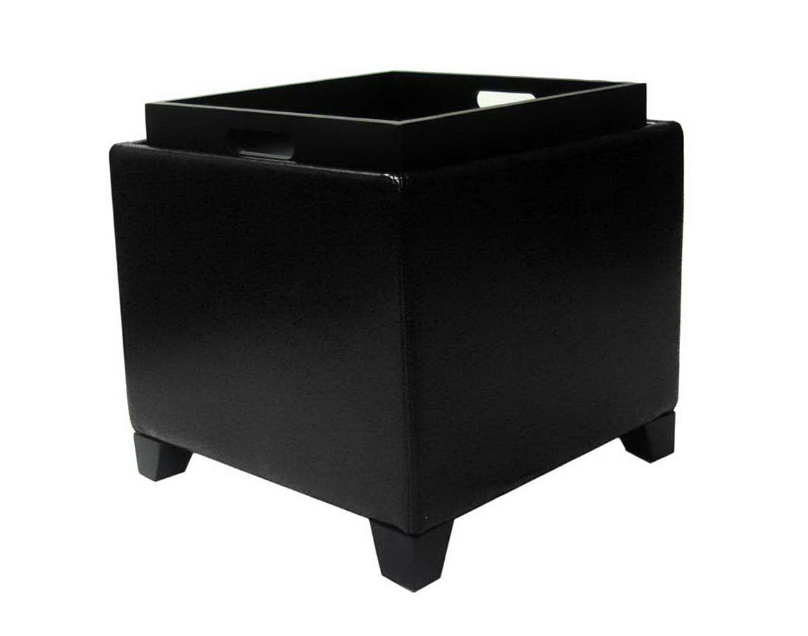 Black Ottoman With Storage Tray Home Design Ideas