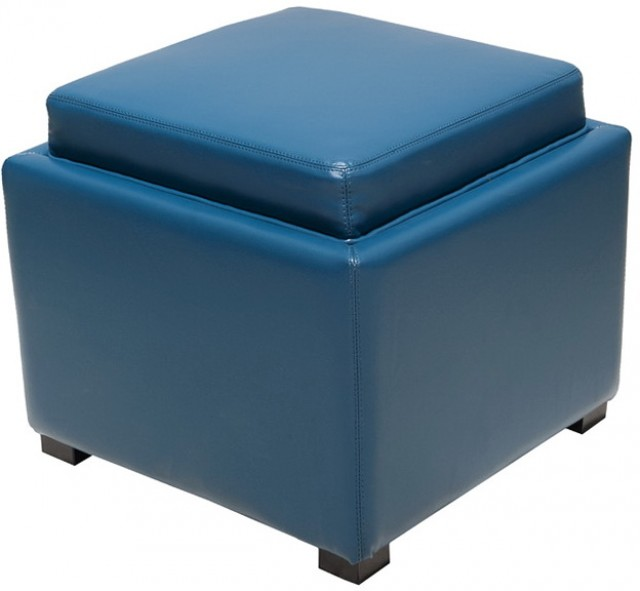Blue Storage Ottoman With Tray